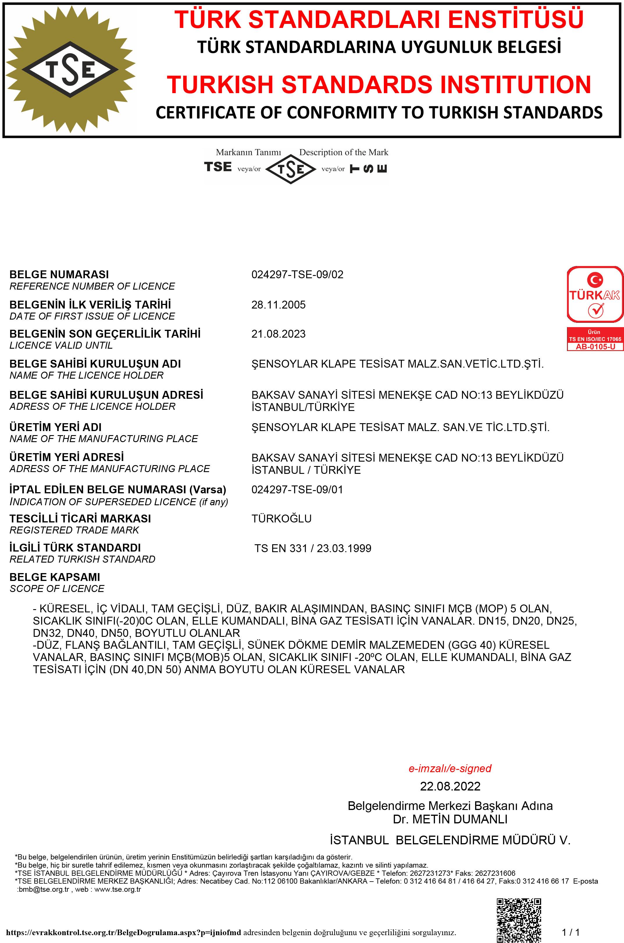 TS EN 331